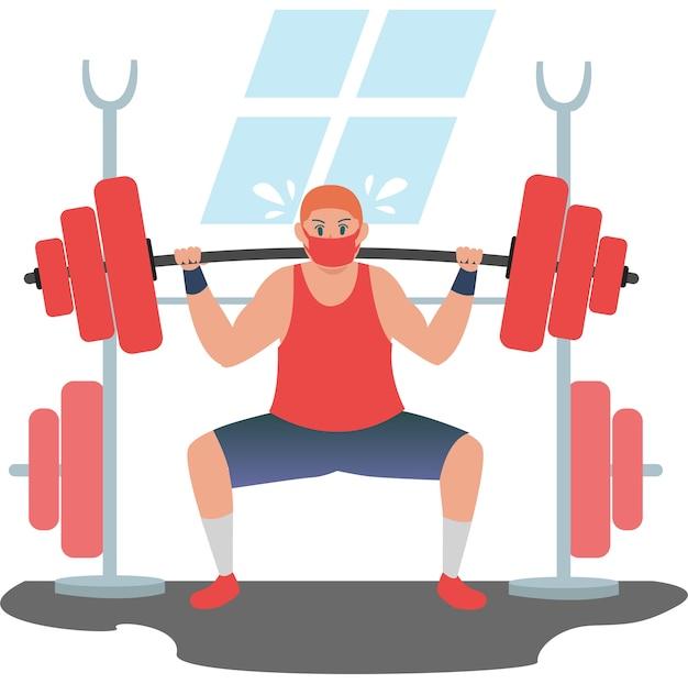 Homem mascarado forte fazendo exercícios usando uma barra enorme para construir os músculos do braço.