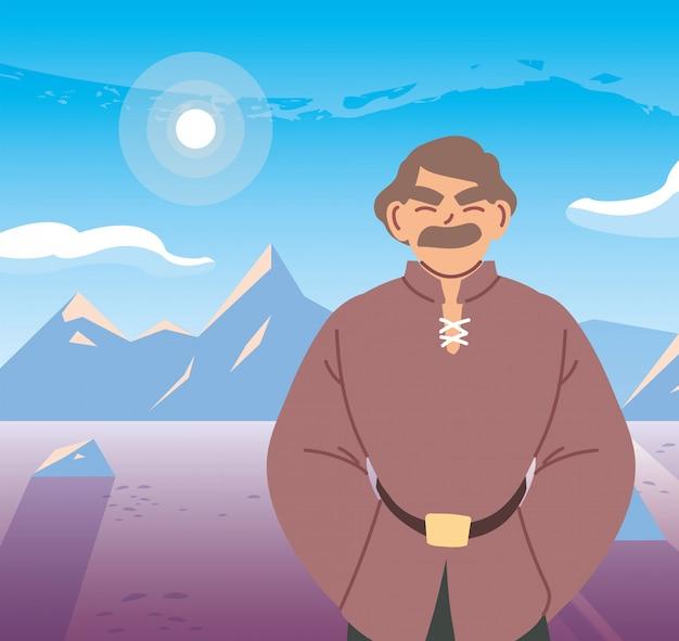 Homem medieval na frente do paisagismo do reino e conto de fadas