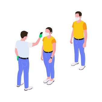 Homem medindo a temperatura corporal com termômetro infravermelho eletrônico ilustração isométrica 3d