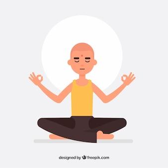 Homem meditando com design plano