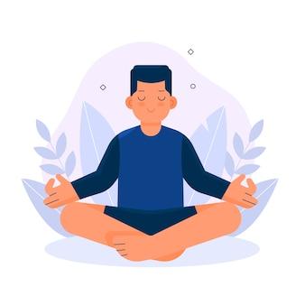 Homem, meditando, conceito