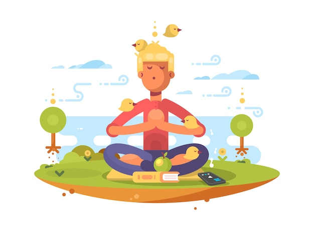 Homem meditando no parque, no gramado, ao som da música. ilustração