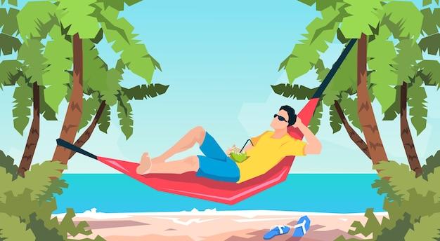 Homem, mentindo, em, rede, praia, férias, apartamento, vetorial, ilustração