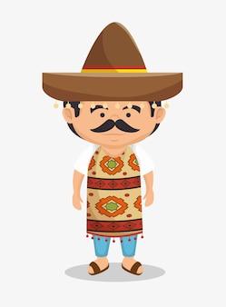 Homem mexicano chapéu vestido tradicional design