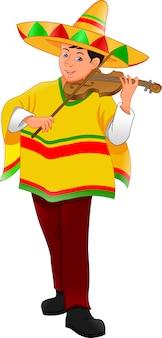 Homem mexicano com chapéu e poncho tocando violino