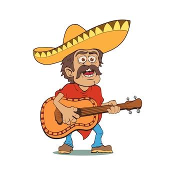 Homem mexicano no sombrero e com guitarra