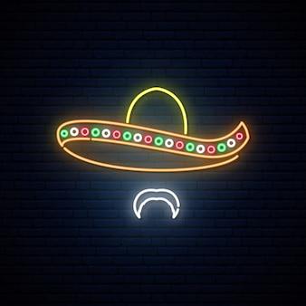 Homem mexicano no vetor de néon brilhante do sombreiro.