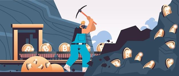 Homem mineiro cavando e extraindo bitcoins na mina caverna minerando criptomoedas digitais criptomoeda conceito de blockchain horizontal ilustração vetorial de corpo inteiro