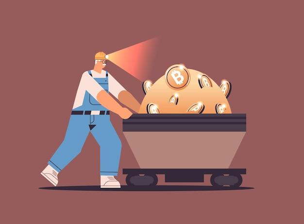 Homem mineiro empurrando bitcoins na mina caverna minerando criptomoedas digital criptomoeda conceito blockchain