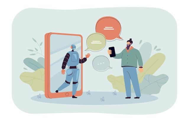 Homem minúsculo conversando online com ilustração plana do assistente de ia