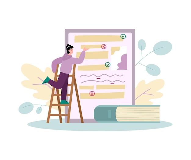Homem minúsculo editando documento eletrônico ilustração vetorial de desenho animado isolado