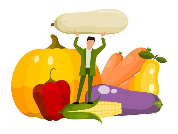 Homem minúsculo vegeterian e alimentos orgânicos saudáveis. pessoa adulta que come legumes frescos crus.