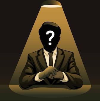 Homem misterioso sob os holofotes homem de negócios sem identidade na ilustração do conceito noir