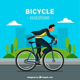 Homem moderno andando de bicicleta com design plano