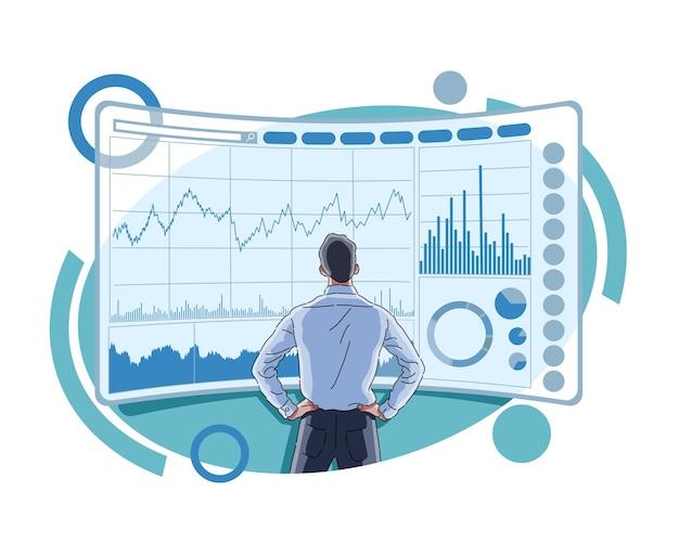 Homem monitorando bolsa de valores e mercado de ações