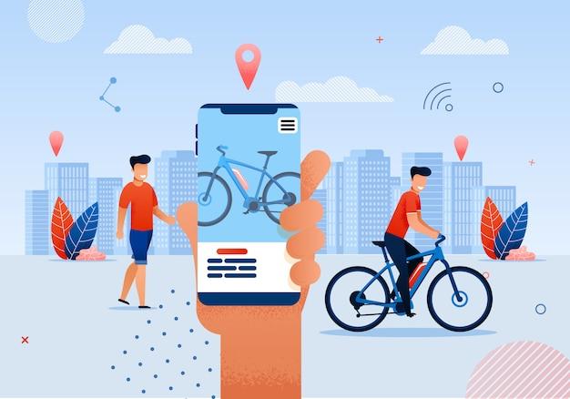 Homem, montando, bicicleta, caricatura, e, ao redor, parque