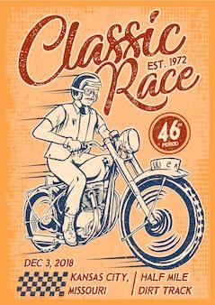 Homem, montando, clássico, motocicleta, cartaz