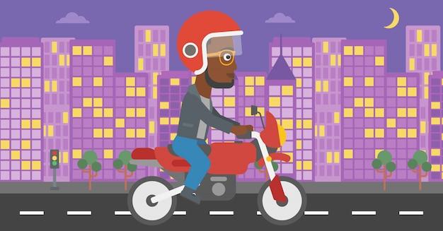 Homem, montando, motocicleta, vetorial, illustration.