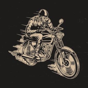 Homem, montando, motocicleta, vetorial, ilustração