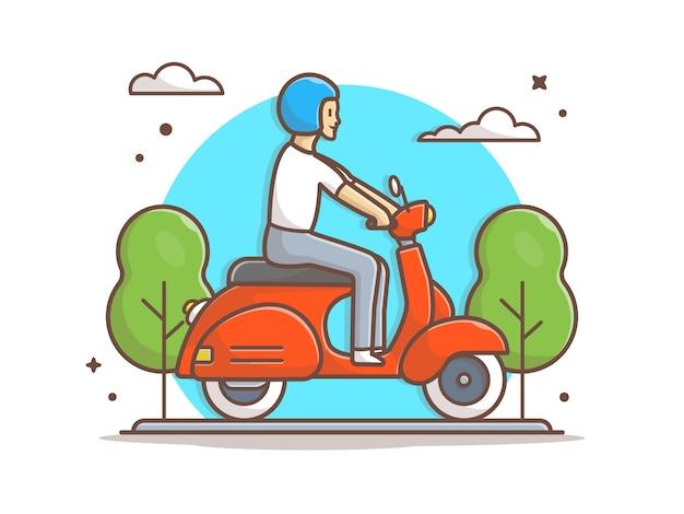 Homem montando vespa scooter