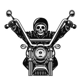 Homem morto na motocicleta. piloto de moto. elemento para cartaz, emblema, sinal. ilustração