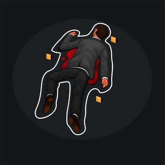Homem morto na vítima do assassino no chão, vetor de ilustração de desenho animado de contorno de giz de cena de crime