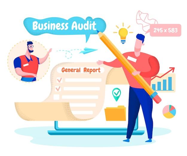 Homem mostra a mão no relatório geral. auditoria de negócios.