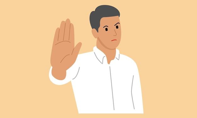 Homem mostrando a palma da mão como sinal de parada, espera ou gesto de rejeição