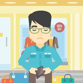 Homem, mostrando, epmty, carteira