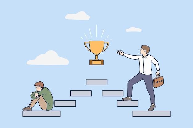 Homem motivado nos passos da carreira para a realização de metas