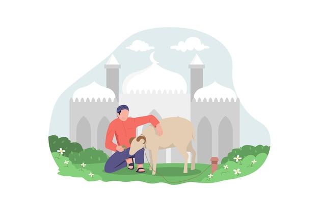 Homem muçulmano alimentando cabra para ilustração de eid al adha