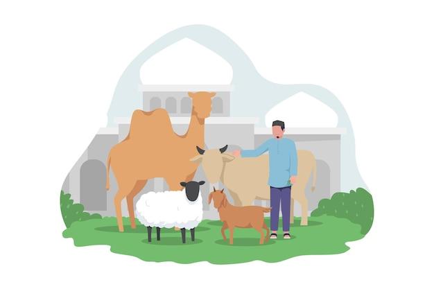 Homem muçulmano com animais de sacrifício, cabra, camelo, vaca e ovelha em frente à mesquita para o eid adha