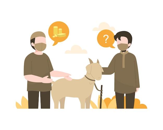 Homem muçulmano compra uma cabra para a celebração do eid al-adha