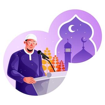 Homem muçulmano dando palestras religiosas