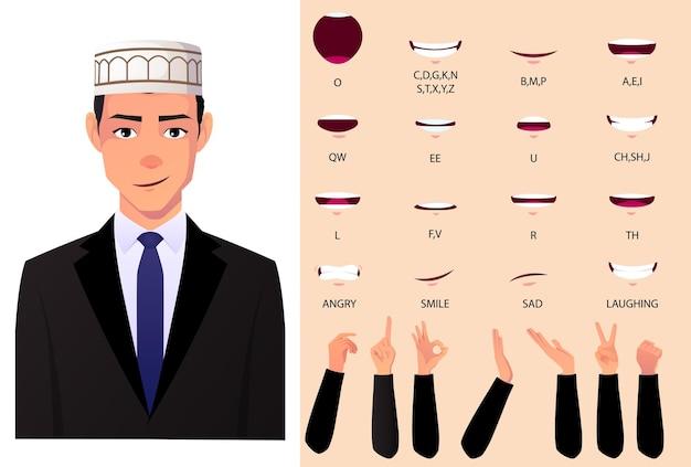 Homem muçulmano de terno, sincronização labial e conjunto de animação, com gestos com as mãos.