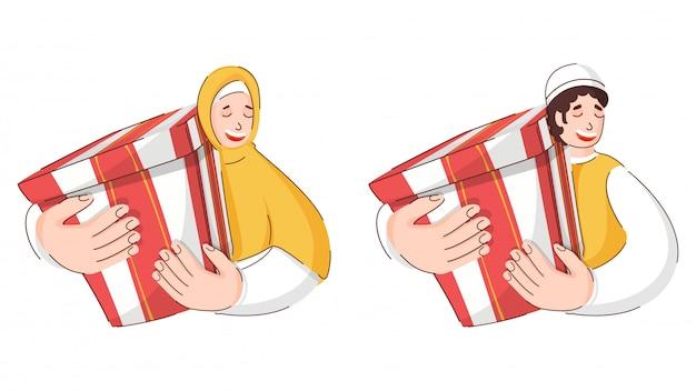 Homem muçulmano e mulher da felicidade guardando caixas de presente no fundo branco.