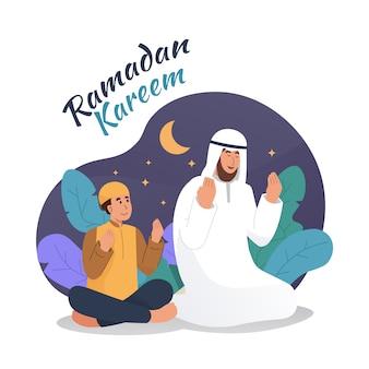 Homem muçulmano e seu filho rezando juntos à noite