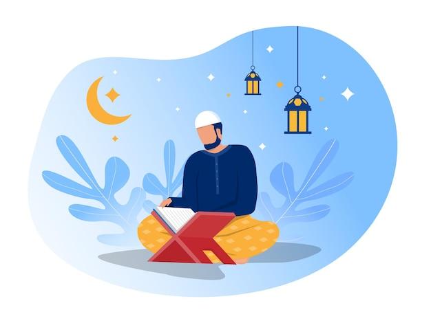 Homem muçulmano está lendo ilustrador do al quran.