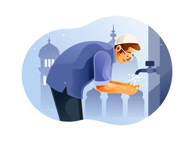 Homem muçulmano fazendo ablução