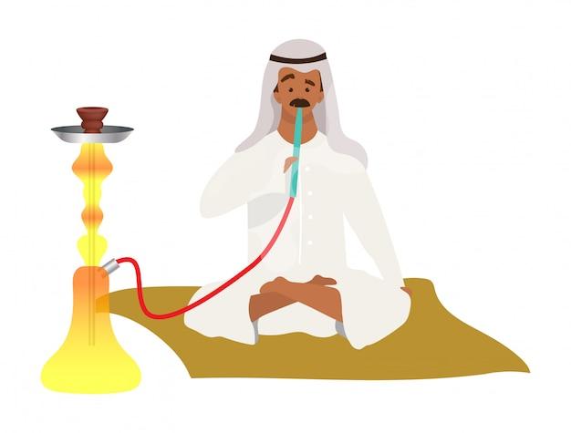 Homem muçulmano fumar cachimbo de água cor plana vector rosto sem rosto. árabe, cara islâmico e narguilé. cultura oriental de fumar. arábia, adulto masculino, em, hijab, com, shisha, isolado, caricatura, ilustração, branco