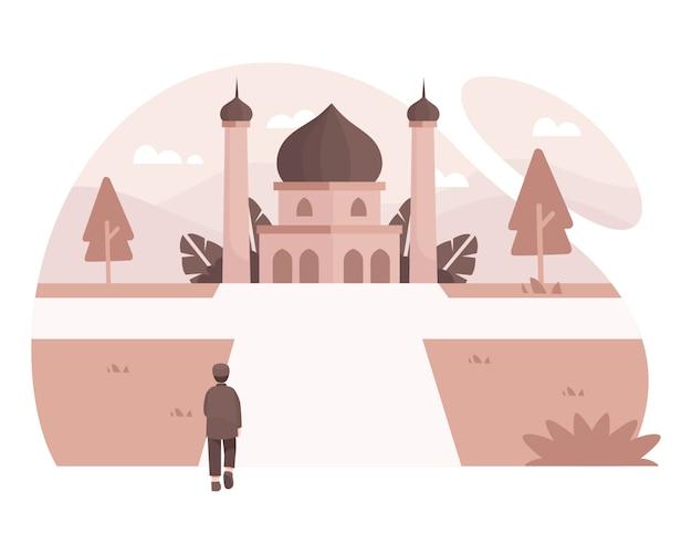 Homem muçulmano indo à mesquita por caminhada