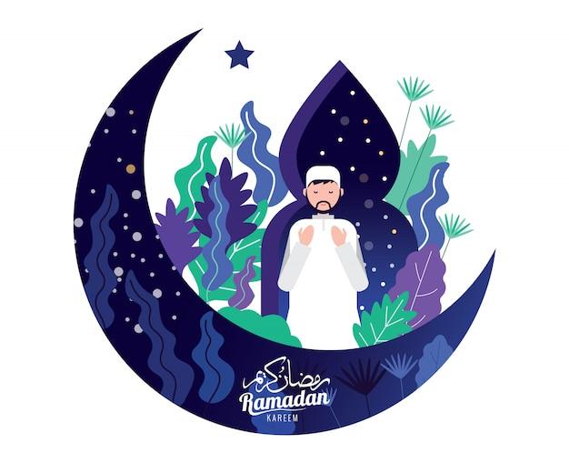 Homem muçulmano na oração de roupa tradicional para o mês sagrado do ramadã kareem.