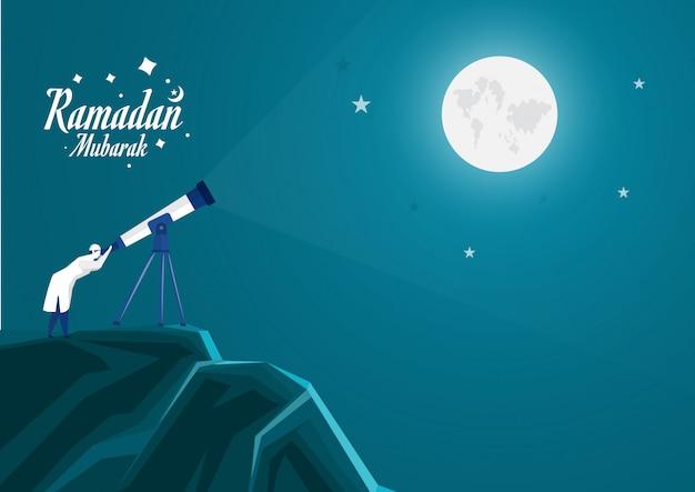 Homem muçulmano olhando o céu com telescópio para prever quando o ramadã começa