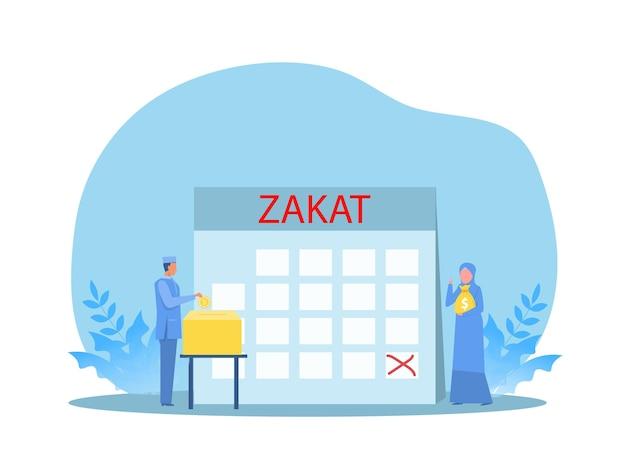 Homem muçulmano paga zakat com lucro no ramadan kareem