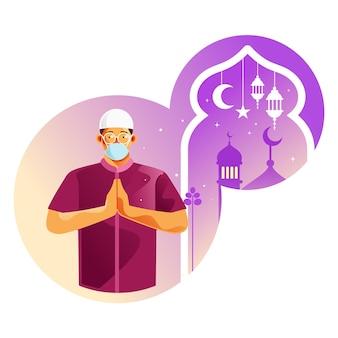 Homem muçulmano parabeniza ramadan pela pandemia