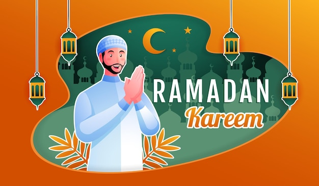 Homem muçulmano recebendo ramadan kareem