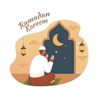 Homem muçulmano rezando à noite na mesquita