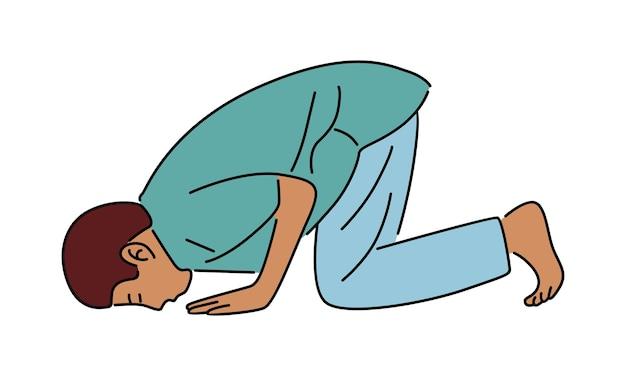 Homem muçulmano rezando em design plano