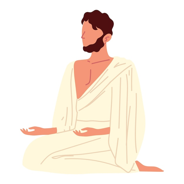 Homem muçulmano sentado rezando