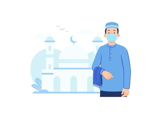 Homem muçulmano usando máscara facial indo para a mesquita.